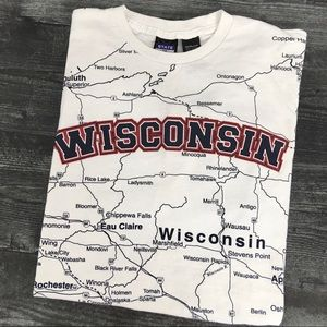 Vintage Wisconsin Map All Over Print Tee